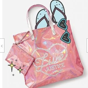 NEW Pink Metallic Justice Tote Bag & Pouch